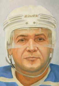 Достойный подарок хоккеисту, портрет маслом на заказ