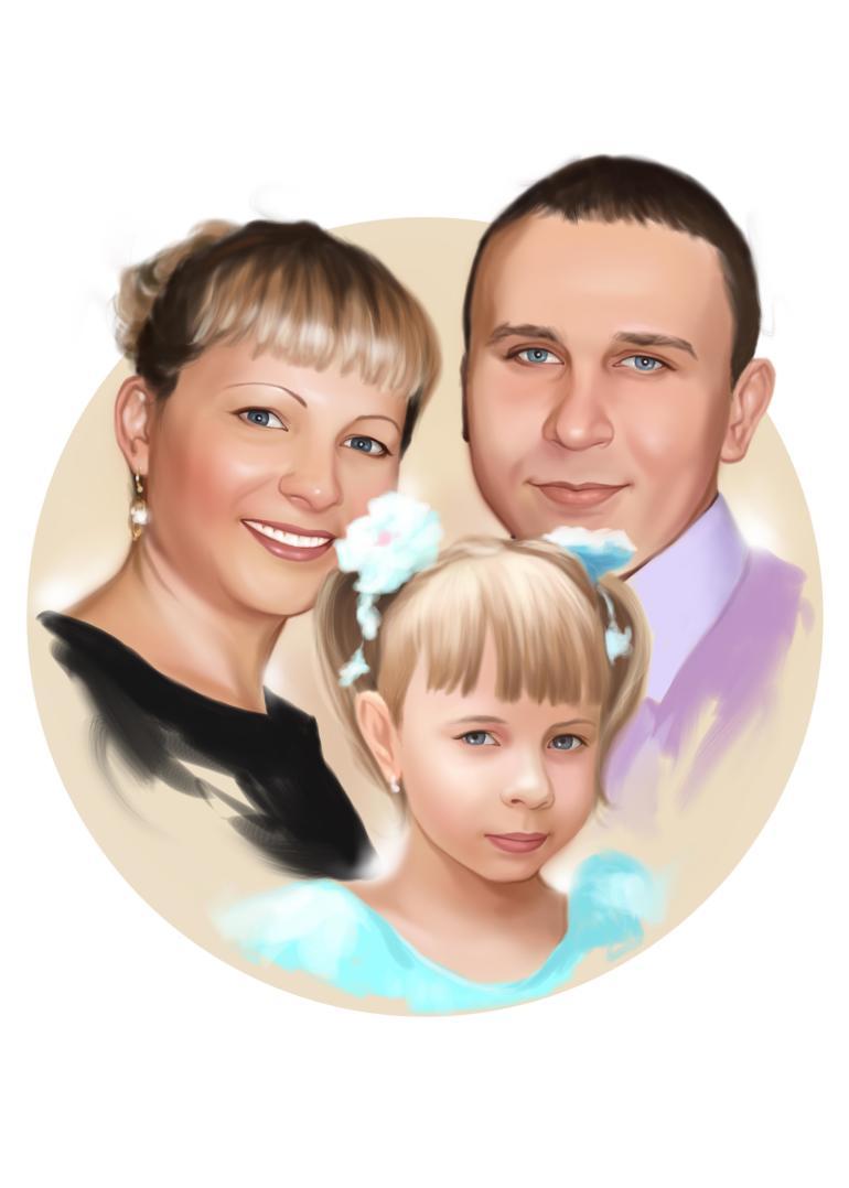 Семейный портрет по фото на холсте в Челябинске — правильный подарок!