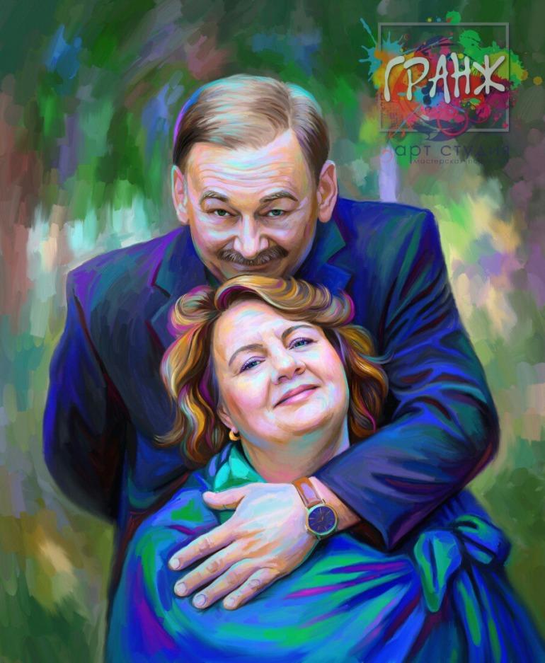 Портрет по фото на холсте — оригинальный подарок на семейный праздник Челябинск